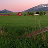 Red Barn and Fence at Dawn