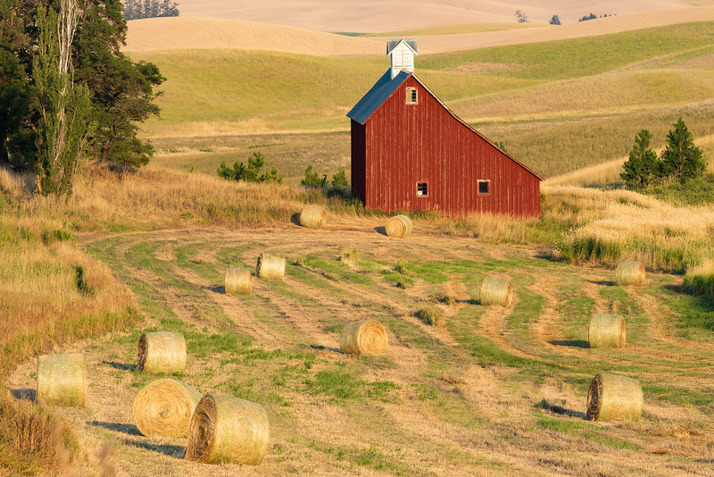 Red Barn and Hay Bales