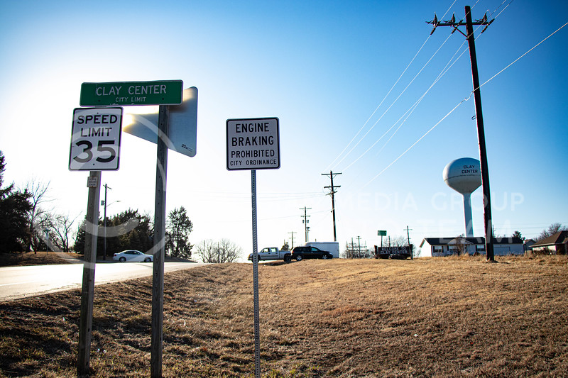 A speed limit sign indicates the decrease in speed when entering Clay Center, KS. (Madeline Emerson | Collegian Media Group)