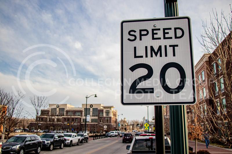 Speed limit sign on 3rd street in Manhattan, KS. (Madeline Emerson | Collegian Media Group)