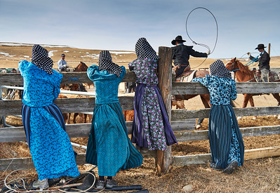 MacMillan Colony, Cayley, Alta - March 5, 2021 - Young  colony women add colour to the branding. Hutterites branded 350 calves on a warm day in early March. They also vaccinated the calves and ear tags and implants were among the tasks performed.   (Mike Sturk photo