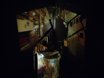 Collaboration artıkişler kolektifi (Istanbul)- 2014  - street refuse trolley - tickets - coins - projection