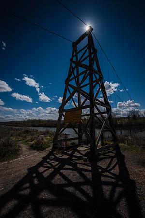 Backlit suspension bridge