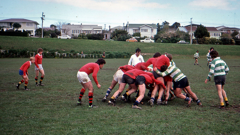 Hamilton vs Auckland office rugby match.