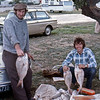 Graham Cullen and John Neal on a fishing weekend at Maketu.