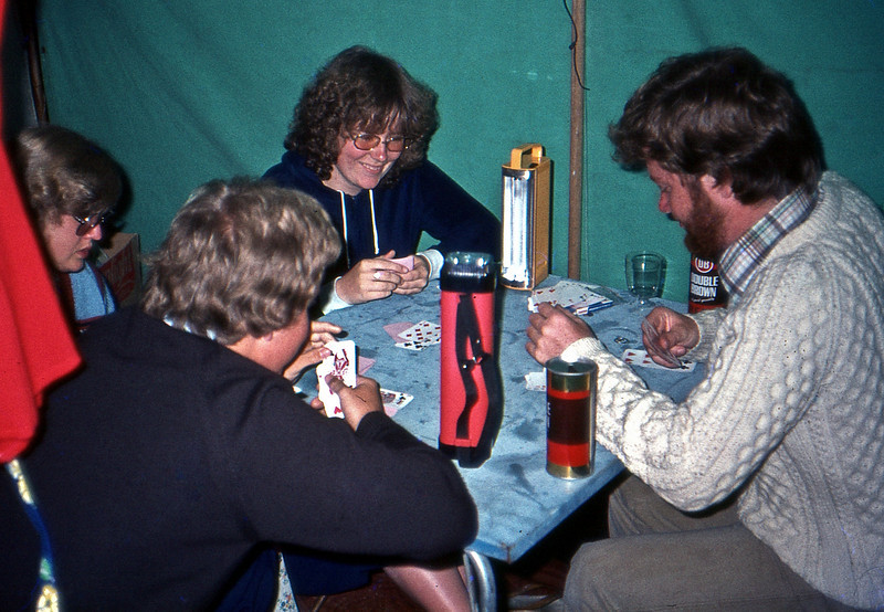 Playing cards camped at the Blue lake.