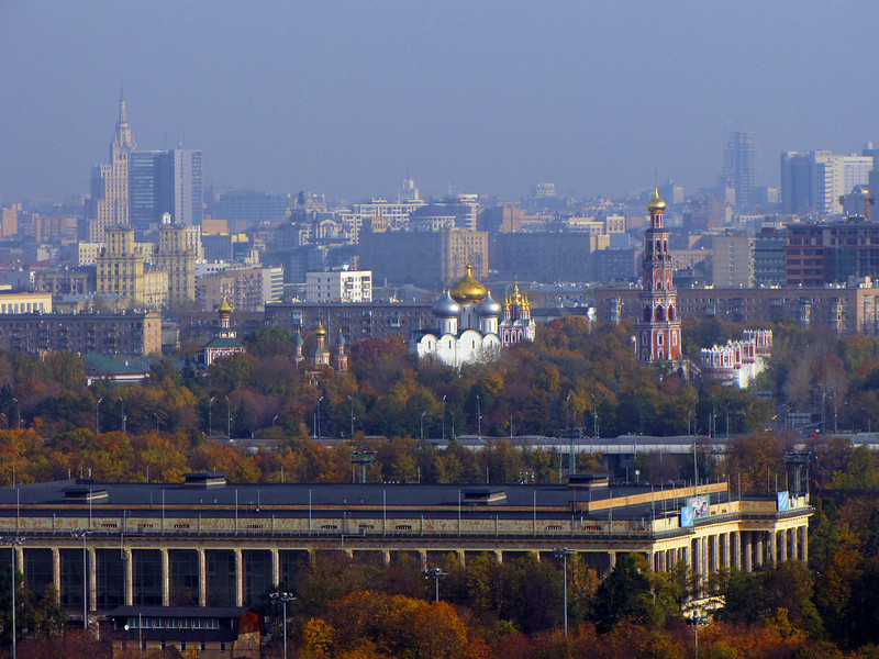 View of Moscow on a misty morning