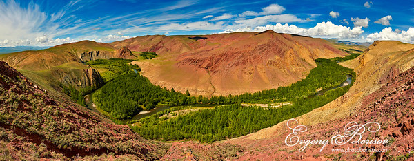 Panorama of the mountain landscape of the red mountains