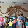 Filming school kids enthralled by the skeleton of Amurosaurus. Амурозавр.