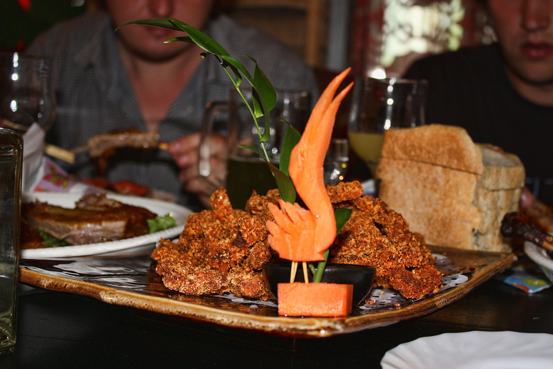A carrot tucan & fried goodies.