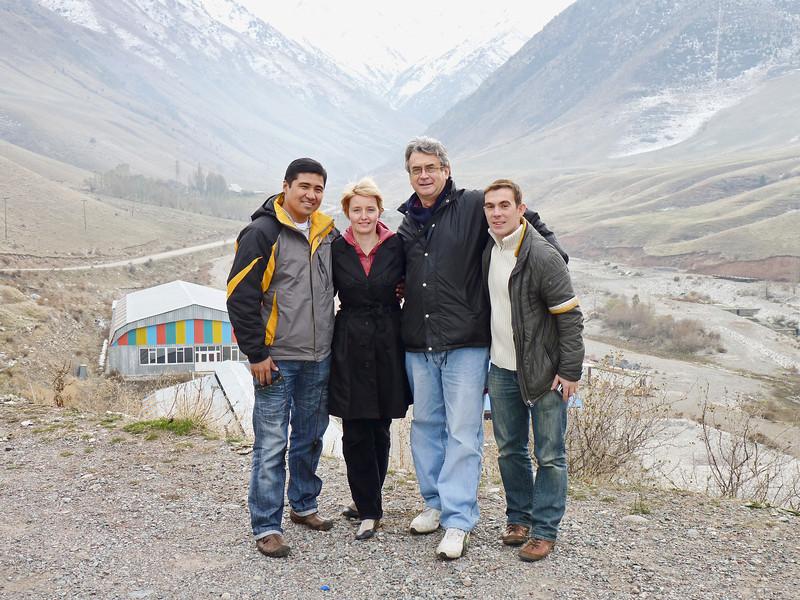 RT crew - Azat Otogonov, Oxana Boyko, Rustem Safronov & Misha Sharkov in the mountains of Kyrgyzstan.