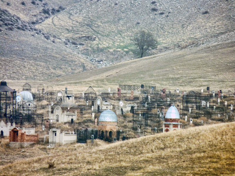 Muslim cemetery in the hills.