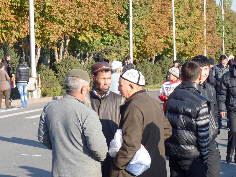 Gathering on the street after prayer.