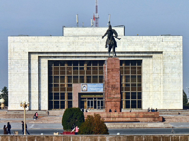 Monument to Manas, a legendary hero who united forty regional clans against the Uyghers thereby creating Kyrgyzstan.