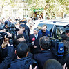 Journalists rushing presidential contender, Almazbek Atambaev.