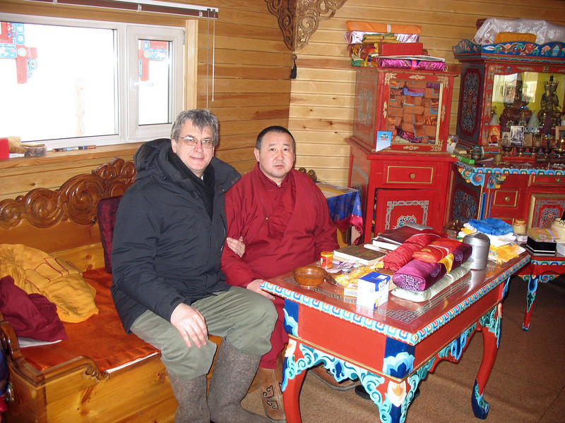 Rustem with monk responsible for guarding the body of Itegelov. (Buryatia, Russia)