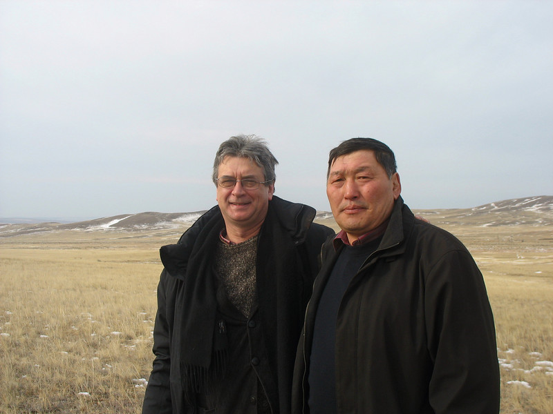 With Buryat man on the steppe.