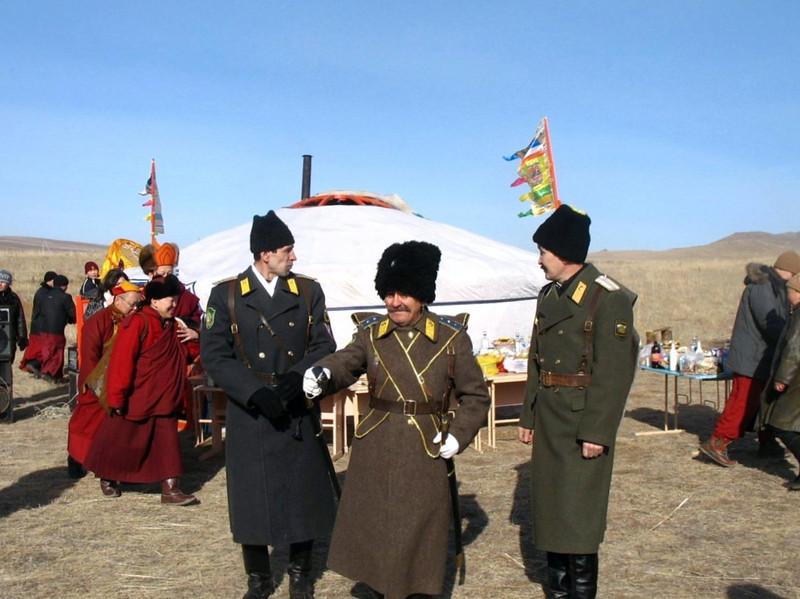 Cossacks & Buryats on the steppe. (Buryatia, Russia)