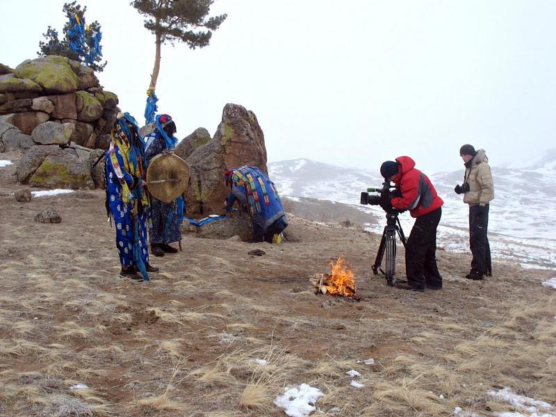 Filming Buryatian Shamans.