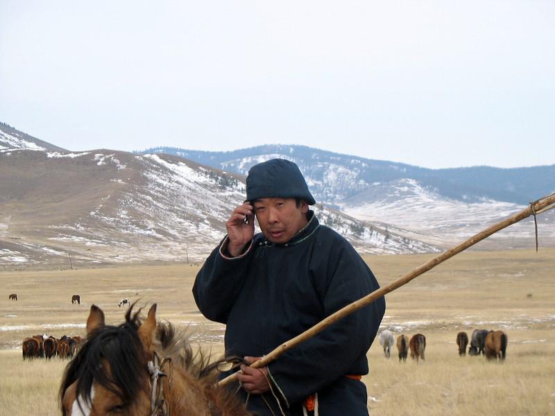Herder on the steppe. (Buryatia, Russia)