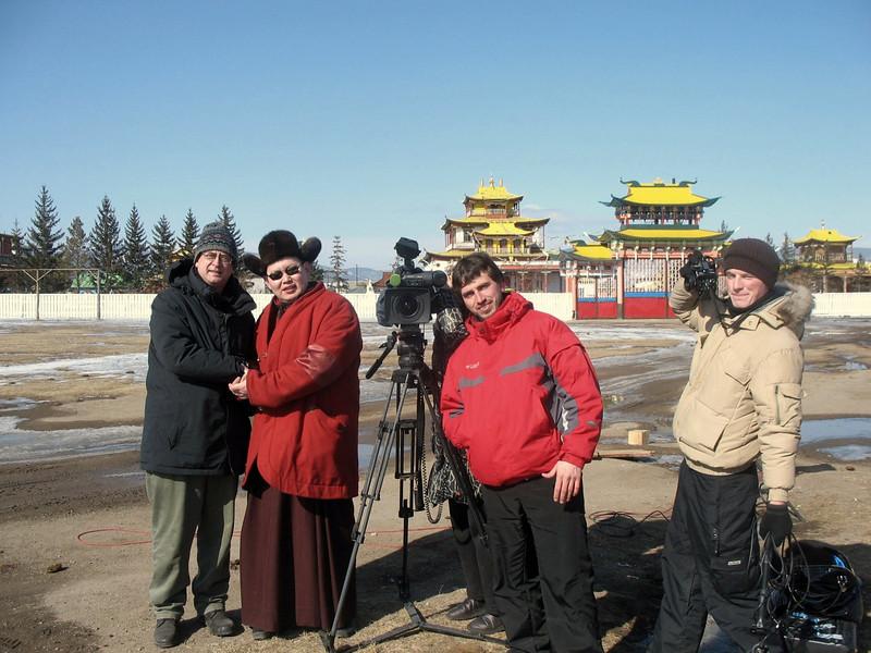 RT crew with monk outside Ivolginsky Datsan. (Buryatia, Russia)