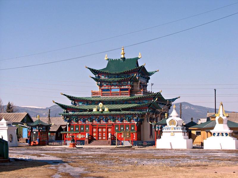 Buddhist Temple inside Ivolginsky Datsan where the body of monk Itegelov is preserved. (Buryatia, Russia)