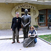 "RT's Close-Up team, Safronov & Levitskaya with statue of <br /> Kisa Vorobyaninov  from ""Twelve Chairs""."