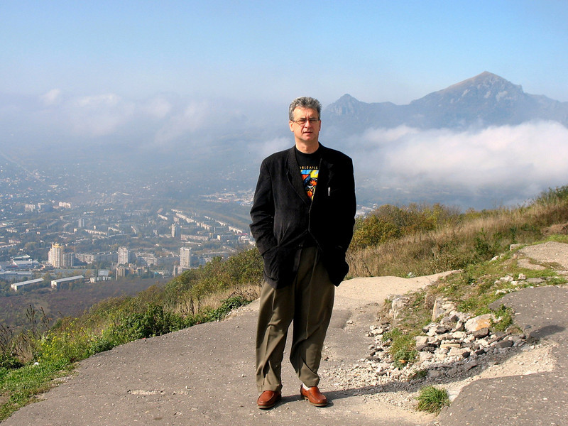 Standing atop Mt. Mashuk with view of Mt. Beshtau.