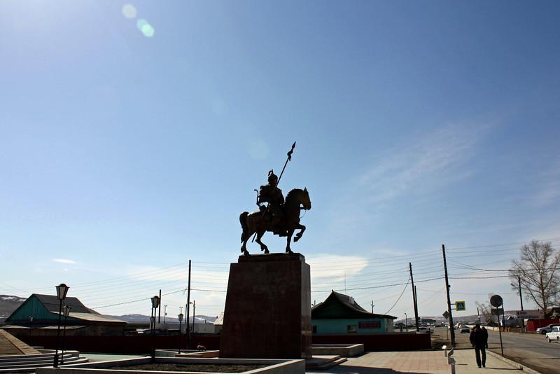 Aginsk warrior statue.