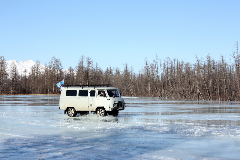 Siberian spring - no chance of falling through the ice as it's about 10' thick beneath the sun-melted watery top.