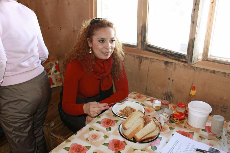 Wafaa enjoying a simple, hardy lunch.