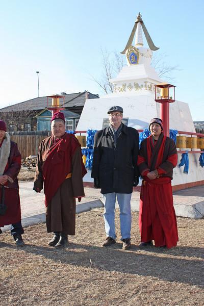 Safronushka with monks at the Tsugol Datsan.