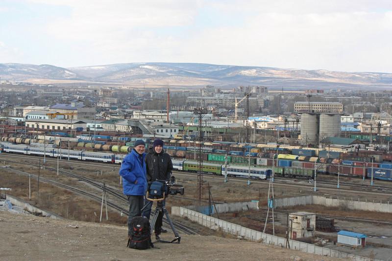 RT Cameraman, Vycheslav Titov, & assistant Anton Melikhov, shooting above Chita.