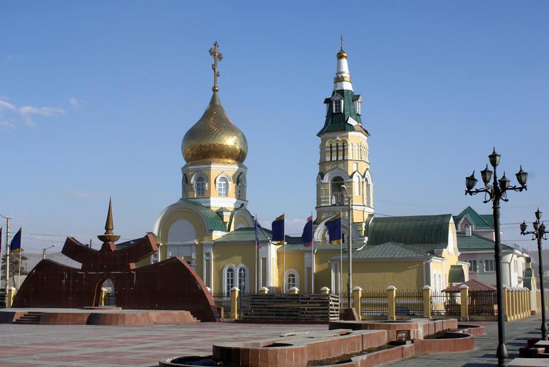 Aginsk church & sculpture.