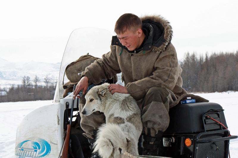 Evenk man & his dog.