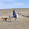 Buryat sheep herder on the steppe in the Aginskoye Region of Transbaikal Krai.