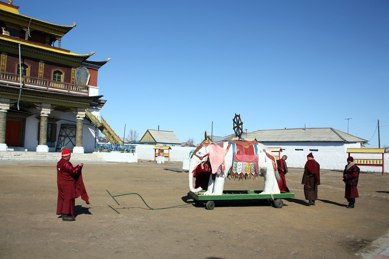 The Tsugol monks are extremely proud of their white elephant.