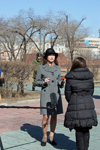 Staci conducting an interview in Chita.
