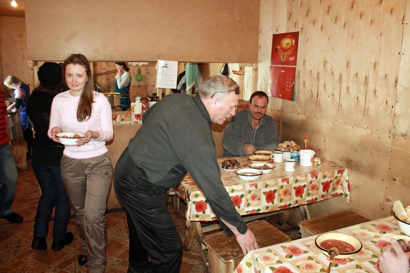 Lunch with the Udokan geologists. В столовой геологической партии.
