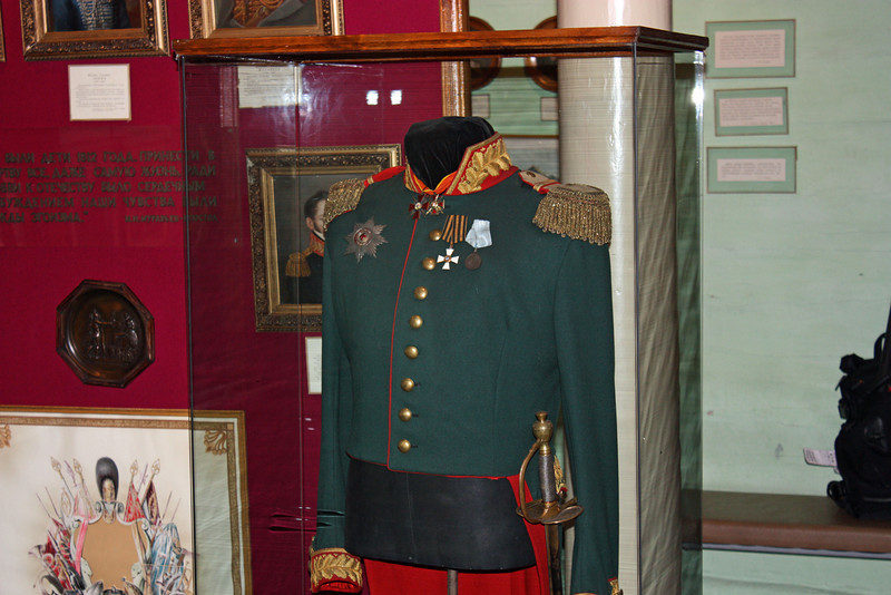 Officer uniform. Before the Decembrist uprising, most of the exiles were noble officers in the Tsarist military.