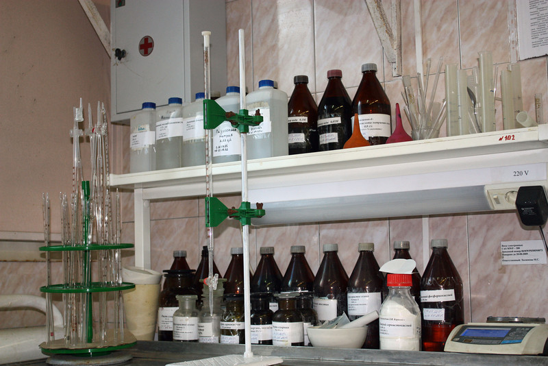 Chemicals at the Baikal Mining Company's research facility.