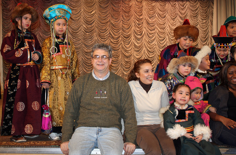 Rustem & Wafaa with the kids after the fashion show.