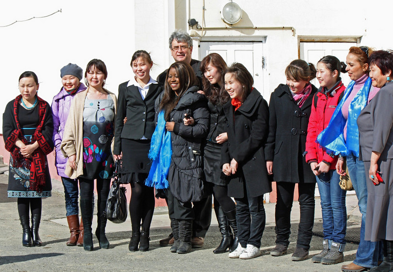RT crew at the schoold for gifted young people in Aginsk.