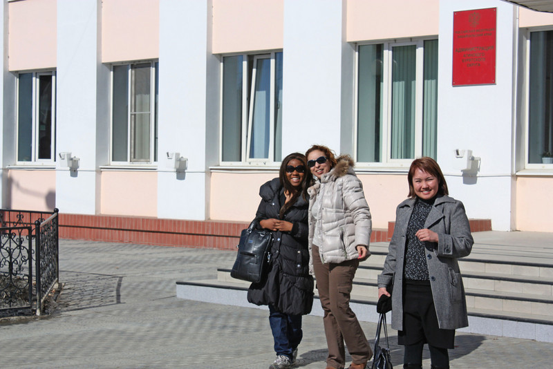 Staci & Wafaa in front of the Aginsk Administration building.