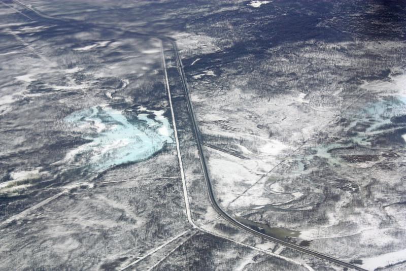 Flying over BAM territory.  БАМ с самолёта.