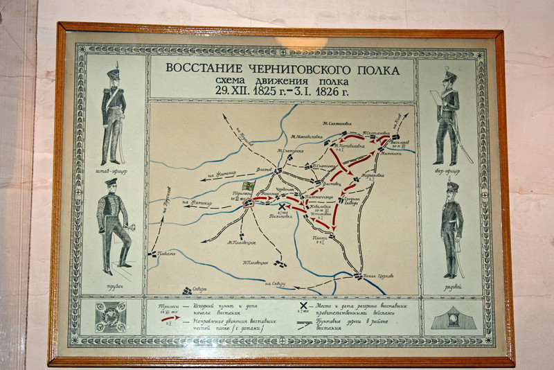 Map showing movement of Decembrist rebels in present-day Ukraine.