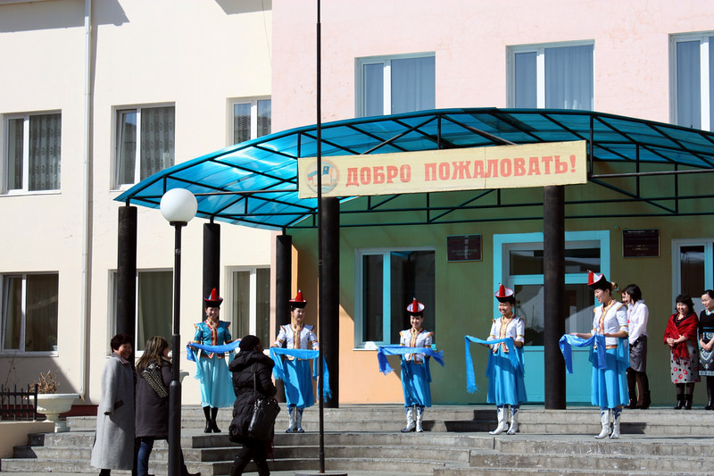 Being welcomed at the school for gifted young people in Aginsk.