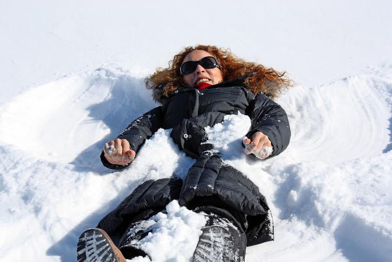 Wafaa as a snow angel.