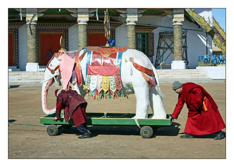 Monks transporting a white elephant at the Tsugol Datsan. Revered by believers, this white elephant was stored in a museum during Soviet time. It was returned to the Datsan in 2006.