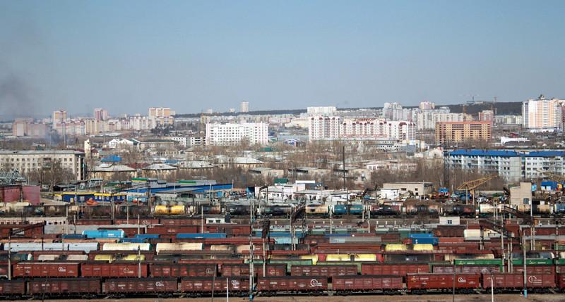 Chita railway yard & city view.